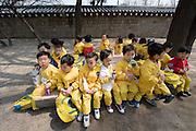 Gyeongbokgung Palace. National Folk Museum. Visiting school kids.