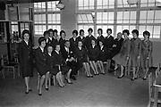 05/04/1963<br /> 04/05/1963<br /> 05 April 1963<br /> Aer Lingus Hostesses visit Jacob's Biscuit factory, Dublin.