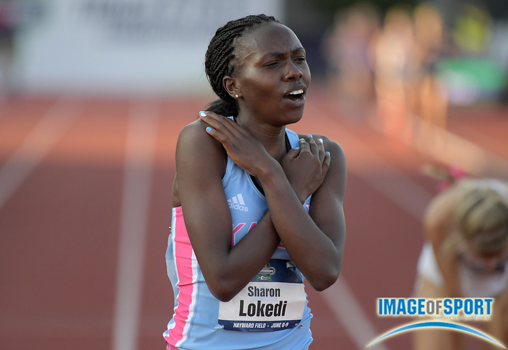 Jun 7, 2018; Eugene, OR, USA; Sharon Lokedi of Kansas celebrates after winning the women's 10,000m in a meet record 32:09.20 during the NCAA Track and Field championships at Hayward Field.