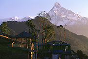 Machupuchare behind tea house