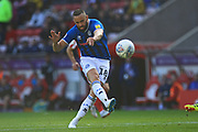 Aaron Wilbraham shoots during the EFL Sky Bet League 1 match between Sunderland and Rochdale at the Stadium Of Light, Sunderland, England on 22 September 2018.