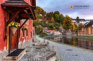 Along the Vltava River in Cesky Krumlov, Czech Republic