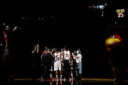 LOUISVILLE, KY - DECEMBER 29: Louisville Cardinals players get ready for the game against the Kentucky Wildcats at the KFC Yum! Center in Louisville, Kentucky. Louisville won 80-77. (Photo by Joe Robbins)