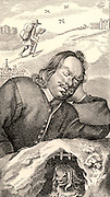 John Bunyan (1628-1688) English Puritan preacher. Bunyan's dream in which he saw the story of 'Pilgrim's Progress'.  Frontispiece of  the fourth edition of 'Pilgrim's Progress' by John Bunyan (London, 1680).