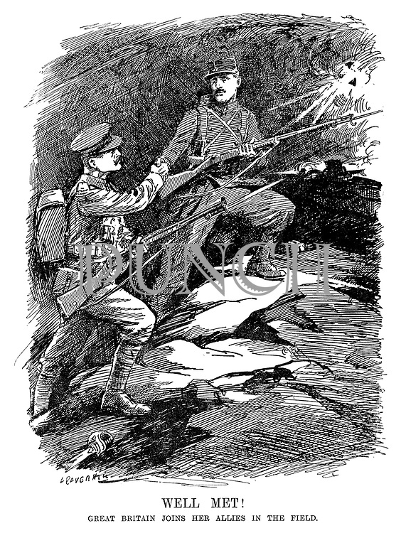 Well Met! Great Britain joins her Allies in the field. (British and French soldiers shake hands on the battlefield at the start of WW1 as a shell explodes above them)