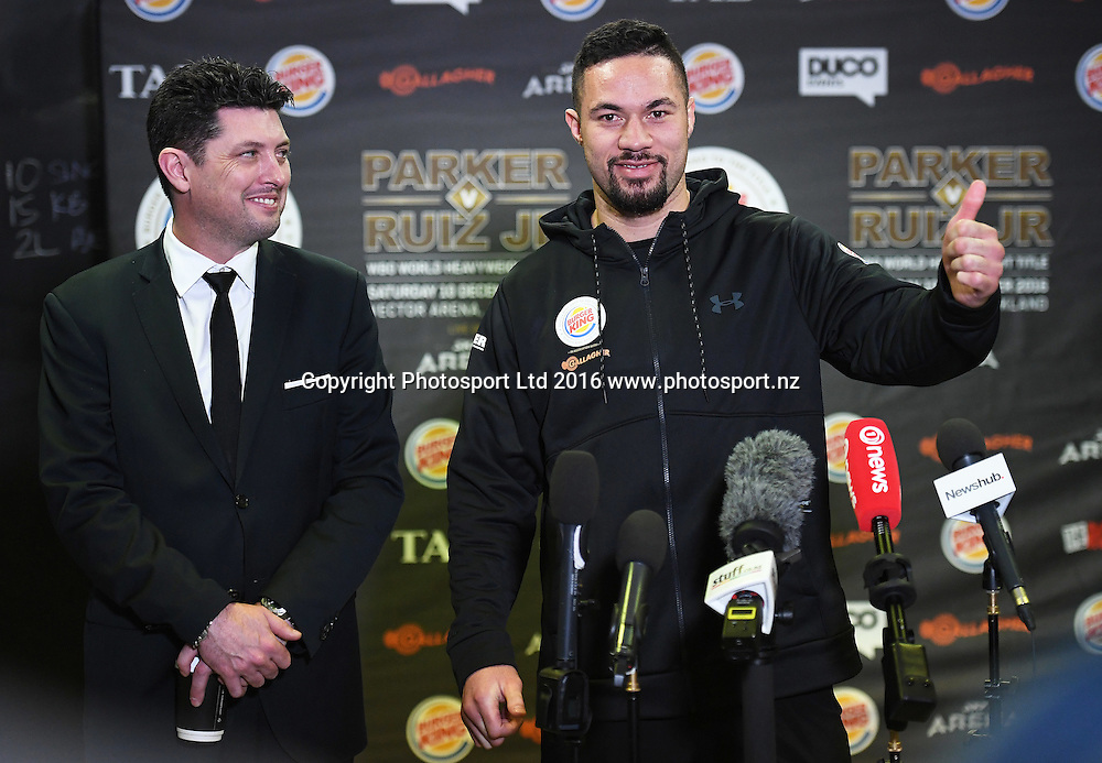 Duco's Craig Stanaway and New Zealand heavyweight boxer Joseph Parker during a media session ahead of his WBO title fight next week. Burger King Road to the title by Duco Boxing. The Wreck Room, Auckland, New Zealand. Thursday 1 December 2016. © Copyright Photo: Andrew Cornaga / www.photosport.nz