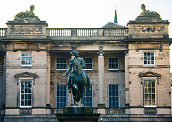 Exterior view of  Statue of King Charles II in Parliament Square and the Supreme Courts  Court of Session) in Edinburgh Old Town, Scotland, UK