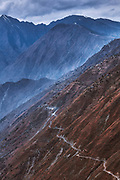 A dangerous Himalayan road in Bharmour, Chamba, Himachal Pradesh, India