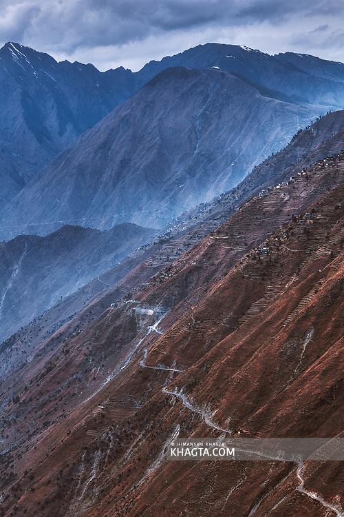 A dangerous Himalayan road in Bharmour, Chamba, Himachal Pradesh, India