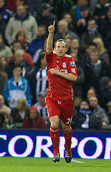 WEST BROMWICH, ENGLAND - Saturday, October 29, 2011: Liverpool's Charlie Adam celebrates scoring the first goal against West Bromwich Albion during the Premiership match at The Hawthorns. (Pic by David Rawcliffe/Propaganda)