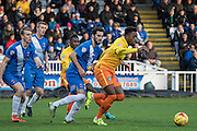 Gozie Ugwu (Forward) of Wycombe Wanderers retains the ball from Hartlepool United defender Adam Jackson the Sky Bet League 2 match between Hartlepool United and Wycombe Wanderers at Victoria Park, Hartlepool, England on 16 January 2016. Photo by George Ledger.