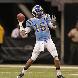 2008 November, 29: Southern University quarterback Bryant Lee (16) throws a pass during a 29-14 win by Grambling State over Southern University during the 35th annual State Farm Bayou Classic at the Louisiana Superdome in New Orleans, LA.  .