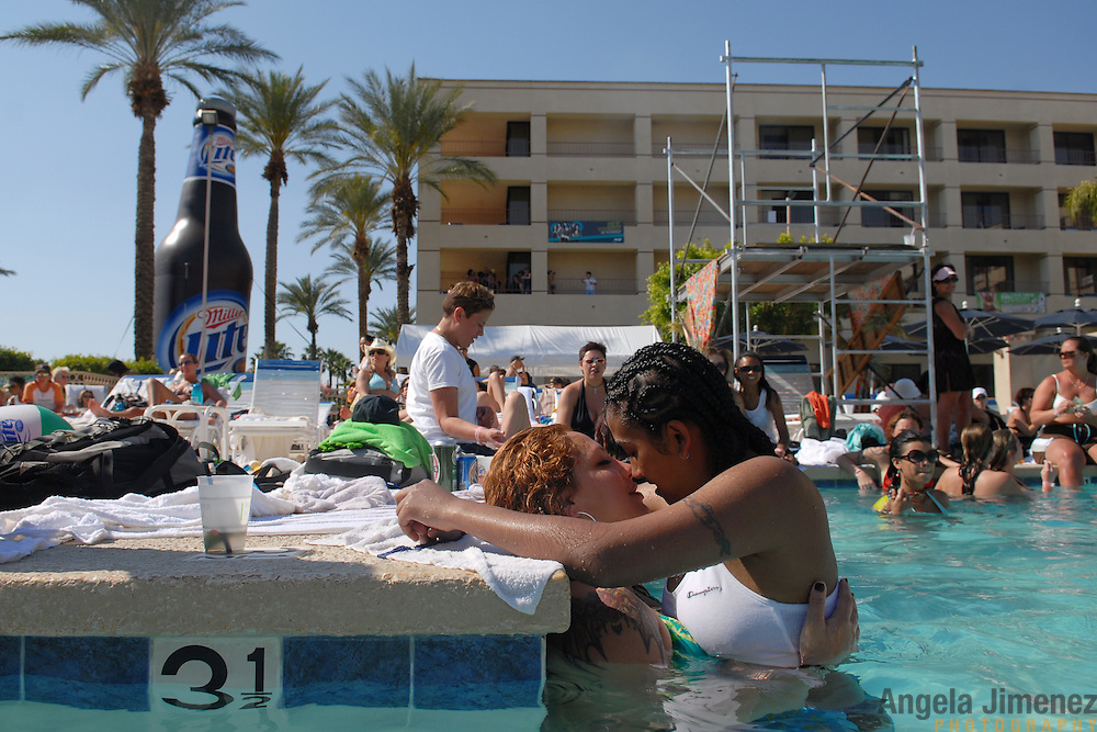 Women attend the L Word pool party hosted by lesbian party promoter Mariah Hanson's Club Skirts company at the Doral Desert Princess Resort in Cathedral City, California (just outside of Palm Springs), on April 1, 2007, the last of five days of parties at the Dinah Shore weekend, the annual lesbian gathering run simultaneously with the Kraft-Nabisco Championship LPGA golf tournament. .