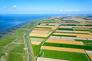 Nederland, Groningen, Gemeente Eemsmond, 05-08-2014; Groningerwad met kwelders en landaanwinning, grenzend aan de Lauwerpolder. eemshaven aan de horizon.<br /> Salt marshes and land reclamation, next to the Lauwerpolder.<br /> <br /> luchtfoto (toeslag op standard tarieven);<br /> aerial photo (additional fee required);<br /> copyright foto/photo Siebe Swart