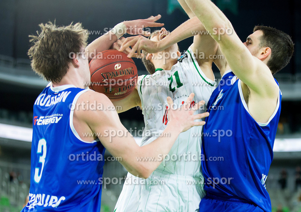 Blaz Mahkovic #21 of KK Union Olimpija between Dmitrii Kulagin and Dejan Borovnjak of Zenit during basketball match between KK Union Olimpija (SLO) and Zenit St. Petersburg (RUS) in 4th Round of EuroCup 2014/15, on November 4, 2014 in Arena Stozice, Ljubljana, Slovenia. Photo by Vid Ponikvar / Sportida