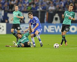 FC Schalke 04 Jermaine Jones tackles Chelsea's Oscar - Photo mandatory by-line: Joe Meredith/JMP - Tel: Mobile: 07966 386802 22/10/2013 - SPORT - FOOTBALL - Veltins-Arena - Gelsenkirchen - FC Schalke 04 v Chelsea - CHAMPIONS LEAGUE - GROUP E