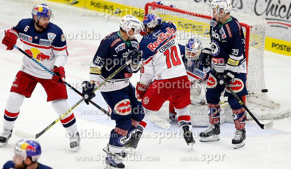 15.03. 2016, Stadthalle, Villach, AUT, EBEL, EC VSV vs EC Red Bull Salzburg, halbfinale, 2. Spiel, im Bild Alexander Pallestrang (EC RBS), Daniel Nageler (VSV), Brian Connelly (EC RBS), Patrick Platzer (VSV) und Juuso Riksman (EC RBS) // during the Erste Bank Icehockey League 2nd semifinal match between EC VSV vs EC Red Bull Salzburg at the City Hall in Villach, Austria on 2016/03/15, EXPA Pictures © 2016, PhotoCredit: EXPA/ Oskar Hoeher