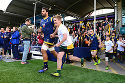 Mascot runs out with Marco Mama of Worcester Warriors before the Bath Rugby game - Mandatory by-line: Dougie Allward/JMP - 15/04/2017 - RUGBY - Sixways Stadium - Worcester, England - Worcester Warriors v Bath Rugby - Aviva Premiership