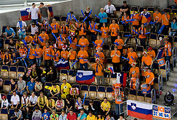 Fans of ACH at  match for 3rd place of CEV Indesit Champions League FINAL FOUR tournament between PGE Skra Belchatow, POL and ACH Volley Bled, SLO on May 2, 2010, at Arena Atlas, Lodz, Poland. Belchatow defeated ACH 3-1. (Photo by Vid Ponikvar / Sportida)