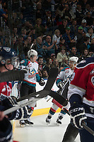 KELOWNA, CANADA - MARCH 8: Ryan Olsen #27 and Tyrell Goulbourne #12 of the Kelowna Rockets celebrate goal against the Tri-City Americans on March 8, 2014 at Prospera Place in Kelowna, British Columbia, Canada.   (Photo by Marissa Baecker/Getty Images)  *** Local Caption *** Ryan Olsen; Tyrell Goulbourne;