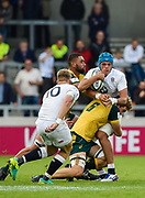 England No.8 Zach Mercer  is held by Australia flanker Angus Scott-Young during the World Rugby U20 Championship  match England U20 -V- Australia U20 at The AJ Bell Stadium, Salford, Greater Manchester, England on June  15  2016, (Steve Flynn/Image of Sport)
