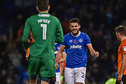 Portsmouth Midfielder, Gareth Evans (26) celebrates the win and full time wth Portsmouth Goalkeeper, Luke McGee (1) during the EFL Sky Bet League 1 match between Portsmouth and Southend United at Fratton Park, Portsmouth, England on 18 November 2017. Photo by Adam Rivers.