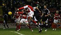 Photo: Paul Thomas.<br /> Rotherham United v Swansea City. Coca Cola League 2. 27/02/2007.<br /> <br /> Pawel Abbott (R) of Swansea scores.