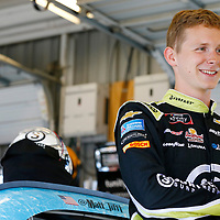Matt Tifft (2) hangs out in the garage during practice for the Alsco 300 at Kentucky Speedway in Sparta, Kentucky.