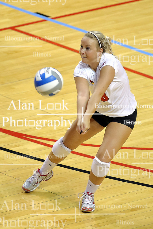 29 AUG 2009: Kasey Mollerus leans into a dig. The Redbirds of Illinois State were defeated by the Golden Eagles of Oral Roberts in 4 sets during play in the Redbird Classic on Doug Collins Court inside Redbird Arena in Normal Illinois