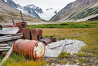 Discarded mining equipment at Athelney Pass, Coast Range British Columbia Canada