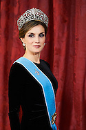 Queen Letizia of Spain attended a Gala dinner at the Royal Palace on February 22, 2017 in Madrid, Spain