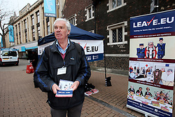 UK ENGLAND LONDON CROYDON 16APR16 - Wiliam John Bailey attends the stall of the Vote Leave campaign on the Croydon high street in south London.<br /> <br /> <br /> <br /> jre/Photo by Jiri Rezac<br /> <br /> <br /> <br /> &copy; Jiri Rezac 2016