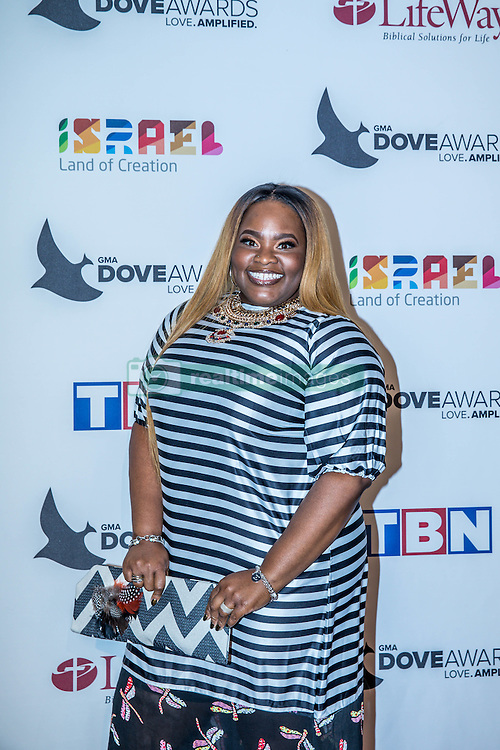 October 11, 2016 - Nashville, Tennessee, USA - Tasha Cobbs at the 47th Annual GMA Dove Awards  in Nashville, TN at Allen Arena on the campus of Lipscomb University.  The GMA Dove Awards is an awards show produced by the Gospel Music Association. (Credit Image: © Jason Walle via ZUMA Wire)