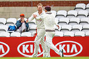 Wicket! Gareth Batty of Surrey celebrates taking the wicket of Oliver Hannon-Dalby of Warwickshire during the Specsavers County Champ Div 1 match between Surrey County Cricket Club and Warwickshire County Cricket Club at the Kia Oval, Kennington, United Kingdom on 26 June 2019.