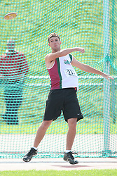 (Sherbrooke, Quebec---10 August 2008) Jeff Sloan competing in the youth boys discus at the 2008 Canadian National Youth and Royal Canadian Legion Track and Field Championships in Sherbrooke, Quebec. The photograph is copyright Sean Burges/Mundo Sport Images, 2008. More information can be found at www.msievents.com.