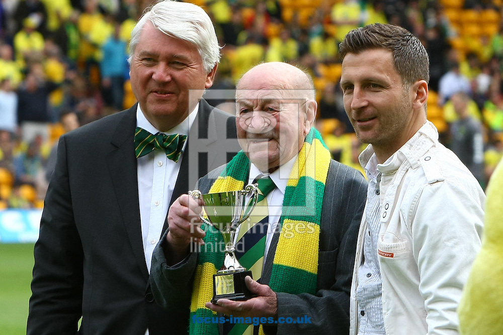 Picture by Paul Chesterton/Focus Images Ltd.  07904 640267.13/05/12.Aviva fan of the year (97 years old) and the runner up before the Barclays Premier League match at Carrow Road Stadium, Norwich.