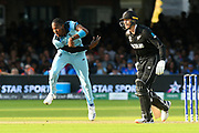 Jofra Archer of England bowling during the super over during the ICC Cricket World Cup 2019 Final match between New Zealand and England at Lord's Cricket Ground, St John's Wood, United Kingdom on 14 July 2019.