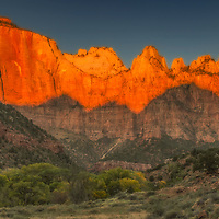 Sunrise over the Towers of the Virgin in Zion National Park, Utah.
