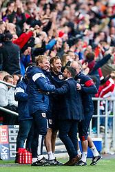 Bristol City Head Coach Lee Johnson and his coaching staff celebrate after Famara Diedhiou scores a goal to make it 4-1 - Rogan/JMP - 16/09/2017 - Ashton Gate Stadium - Bristol, England - Bristol City v Derby County - Sky Bet Championship.