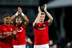 Taylor Moore of Bristol City celebrates after Bristol City win 1-2 - Rogan/JMP - 07/12/2019 - Craven Cottage - London, England - Fulham v Bristol City - Sky Bet Championship.