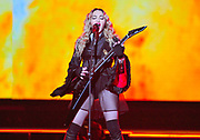"""NASHVILLE, TN - JANUARY 18: Singer Madonna performs during her """"Rebel Heart"""" tour at Bridgestone Arena on January 18, 2016 in Nashville, Tennessee."""
