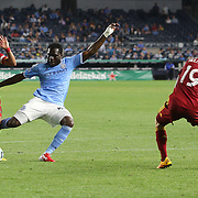NEW YORK, NEW YORK - June 02: Javier Morales #11 of Real Salt Lake blocks Kwadwo Poku #88 of New York City FC from shooting resulting in a penalty awarded to NYCFC  during the NYCFC Vs Real Salt Lake regular season MLS game at Yankee Stadium on June 02, 2016 in New York City. (Photo by Tim Clayton/Corbis via Getty Images)