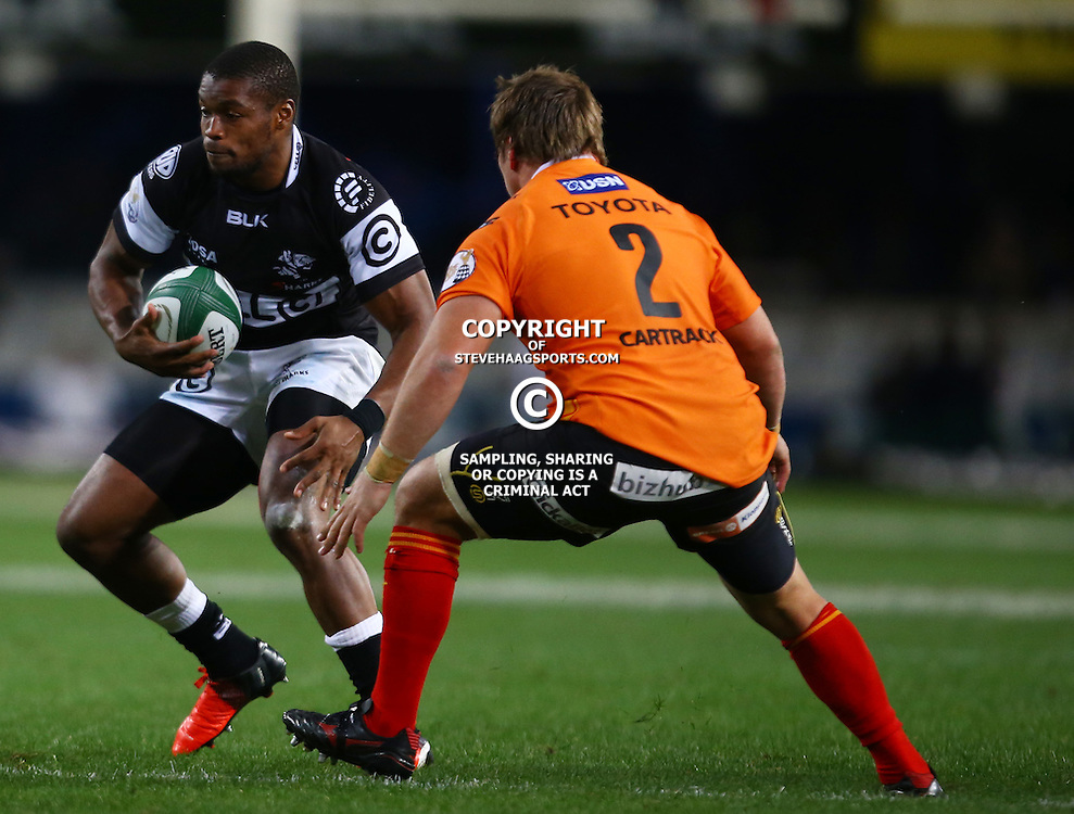 DURBAN, SOUTH AFRICA - SEPTEMBER 10:S'bura Sithole of the Cell C Sharks during the Currie Cup match between the Cell C Sharks and Toyota Cheetahs at Growthpoint Kings Park on September 10, 2016 in Durban, South Africa. (Photo by Steve Haag/Gallo Images)