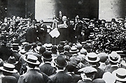 Outside the Royal Exchange, London, 6 August 1914: Reading of the proclamation by the King of a moratorium for a month on the payment of debts.