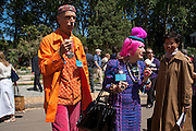 ANDREW LOGAN; ZANDRA RHODES, PRESS PREVIEW. The RHS Chelsea Flower Show 2011. The Royal Hospital grounds. Chelsea. London. 23 May 2011. <br /> <br />  , -DO NOT ARCHIVE-© Copyright Photograph by Dafydd Jones. 248 Clapham Rd. London SW9 0PZ. Tel 0207 820 0771. www.dafjones.com.