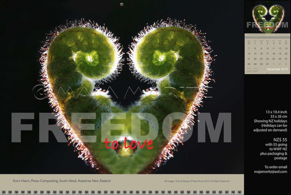 Freedom to love, Koru Heart, Photo Compositing, South Island, Aotearoa New Zealand