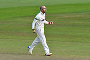Wicket - Jack Leach of Somerset celebrates taking the wicket of John Simpson of Middlesex during the Specsavers County Champ Div 1 match between Somerset County Cricket Club and Middlesex County Cricket Club at the Cooper Associates County Ground, Taunton, United Kingdom on 28 September 2017. Photo by Graham Hunt.