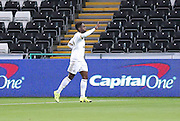 midfielder Nathan Dyer celebrates the goal during the Capital One Cup match between Swansea City and York City at the Liberty Stadium, Swansea, Wales on 25 August 2015. Photo by Simon Davies.