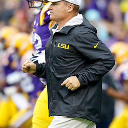 September 29, 2012; Baton Rouge, LA, USA; LSU Tigers head coach Les Miles prior to kickoff of a game against the Towson Tigers at Tiger Stadium. LSU defeated Towson 38-22. Mandatory Credit: Derick E. Hingle-US PRESSWIRE