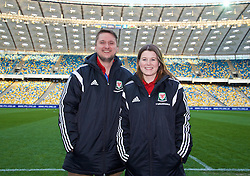 KIEV, UKRAINE - Easter Monday, March 28, 2016: Nathan and Holly Williams of Tiny Welsh Media before the International Friendly match between Ukraine and Wales at the NSK Olimpiyskyi Stadium. (Pic by David Rawcliffe/Propaganda)